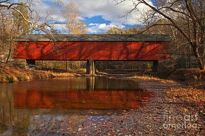 Photograph - Frankenfield Covered Bridge Reflections by Adam Jewell