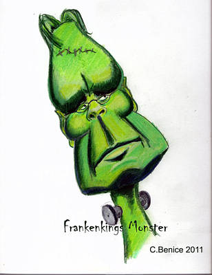 Caricature Drawing - Frankenkings Monster by Chris Benice