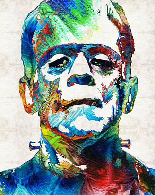 Horror Movies Painting - Frankenstein Art - Colorful Monster - By Sharon Cummings by Sharon Cummings