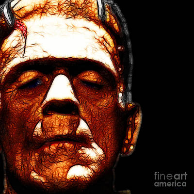 Haunted Digital Art - Frankenstein Black Square by Wingsdomain Art and Photography