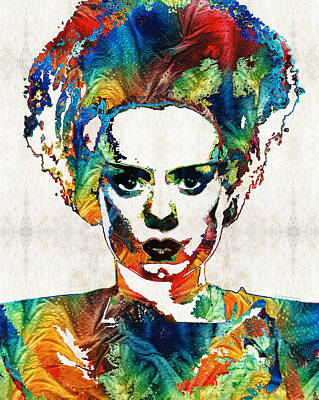 Bride Painting - Frankenstein Bride Art - Colorful Monster Bride - By Sharon Cummings by Sharon Cummings