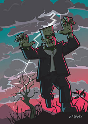 M P Davey Digital Art - Frankenstein Creature In Storm  by Martin Davey