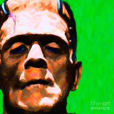 Frankenstein Painterly Green Square Art Print by Wingsdomain Art and Photography