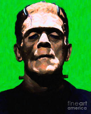 Haunted Digital Art - Frankenstein - Painterly - Green by Wingsdomain Art and Photography