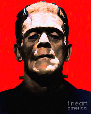 Frankenstein - Painterly - Red Art Print by Wingsdomain Art and Photography