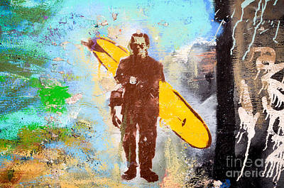 Frankenstein Surf Graffiti Art Print by Amy Fearn