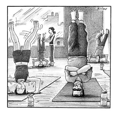Yoga Drawing - Frankenstein's Monster Easily Balances by Harry Bliss