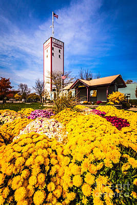 Frankfort Illinois And Frankort Grainery With Flowers Art Print