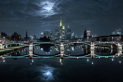 Water Reflections Photograph - Frankfurt At Full Moon by Mike / Match-photo
