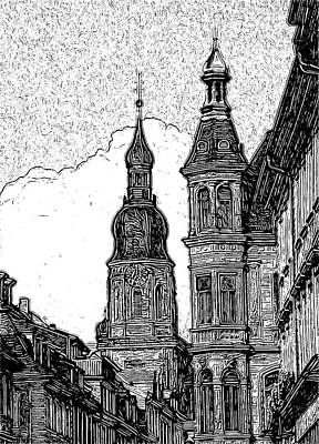 Litho Digital Art - Frankfurt Clock Tower - Black And White by Paul Gioacchini
