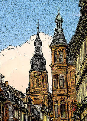 Litho Digital Art - Frankfurt Clock Tower by Paul Gioacchini