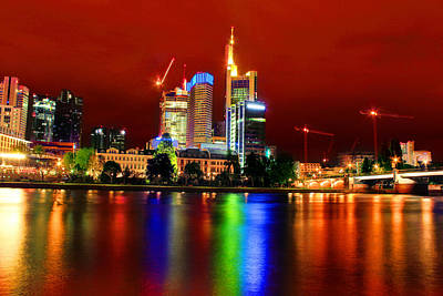 Frankfurt Red Skyline Art Print