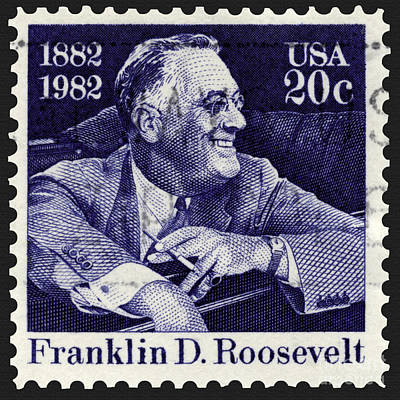 Photograph - Franklin D. Roosevelt Smiling In Car Stamp by Phil Cardamone
