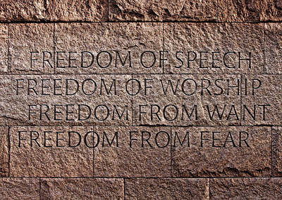Franklin Delano Roosevelt Memorial Freedom Quote Art Print by John Cardamone