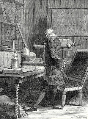 Old Philadelphia Drawing - Franklin In His Laboratory Of Physics In Philadelphia by English School