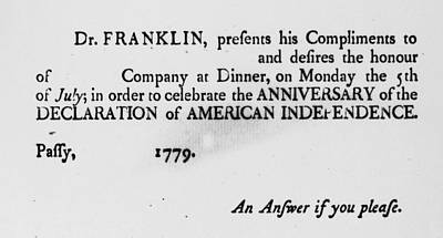 Party Invitation Painting - Franklin Invitation, 1779 by Granger