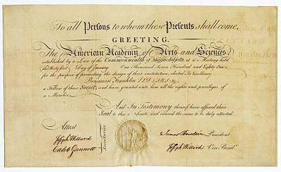 Founding Photograph - Franklin Membership Certificate by American Philosophical Society
