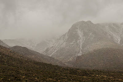 Photograph - Franklin Mountains Dusted With Snow by Allen Sheffield