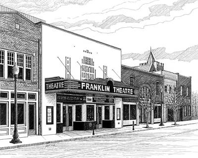 Main Street In Franklin Drawing - Franklin Theatre In Franklin Tn by Janet King