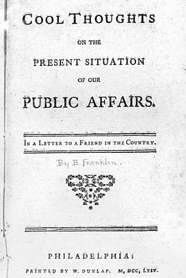 Book Title Painting - Franklin Title Page, 1764 by Granger