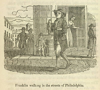 Franklin Photograph - Franklin Walking In Philadelphia by British Library