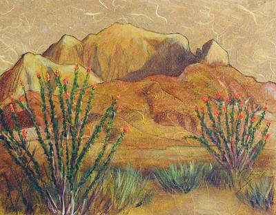 Desert Flower Painting - Franklins And Ocotillo by Candy Mayer