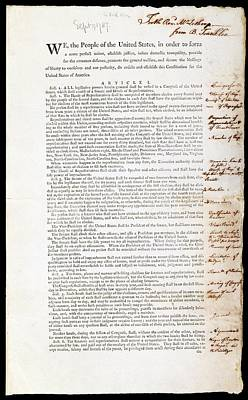 Franklin's Copy Of The Us Constitution Art Print