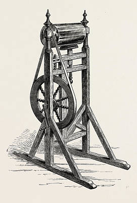 Franklin Drawing - Franklins First Electrical Machine, Us, Usa by English School
