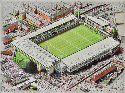 Rugby Painting - Franklin's Gardens - Northampton Saints Rugby by D J Rogers