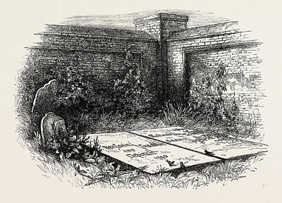 Philadelphia Drawing - Franklins Grave At Philadelphia, United States Of America by American School