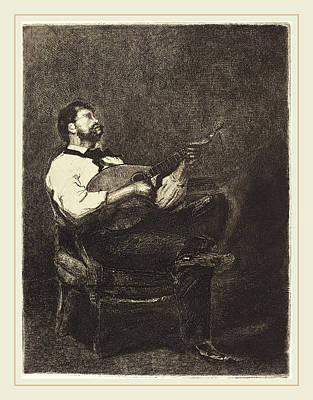 François Bonvin French, 1817-1887, Guitar Player Joueur De Art Print by Litz Collection