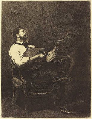 François Bonvin French, 1817 - 1887, Guitar Player Joueur Art Print by Quint Lox