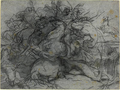 The Tiger Drawing - François-nicolas Chifflart, Study For Surprise Battle by Litz Collection
