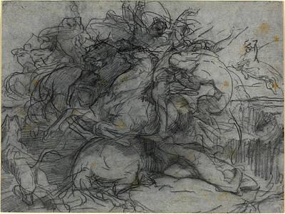 François-nicolas Chifflart, Study For Surprise Battle Art Print by Litz Collection