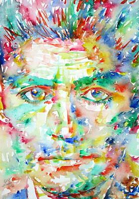 Kafka Painting - Franz Kafka Watercolor Portrait by Fabrizio Cassetta