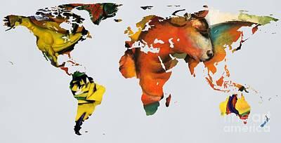 Expressionist Digital Art - Franz Marc 2  World Map by John Clark
