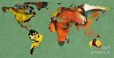 German Map Digital Art - Franz Marc 3  World Map by John Clark