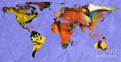 Expressionist Digital Art - Franz Marc 1 World Map by John Clark