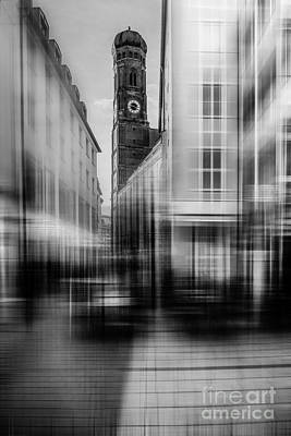 Frauenkirche - Muenchen V - Bw Print by Hannes Cmarits
