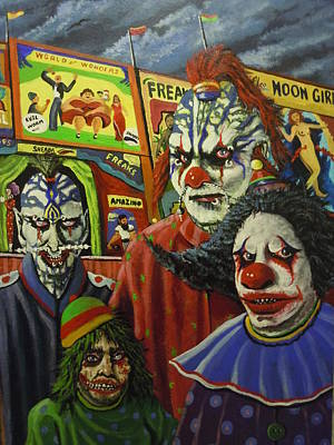 Evil Clown Painting - Freakish by James Guentner