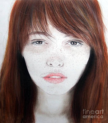 Portrait Drawing - Freckle Faced Beauty by Jim Fitzpatrick