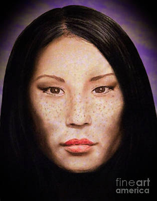 Drawing - Freckle Faced Beauty Lucy Liu  IIi Altered Version by Jim Fitzpatrick