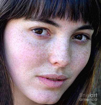 Knitted Dress Photograph - Freckle Faced Beauty Model Closeup IIi by Jim Fitzpatrick