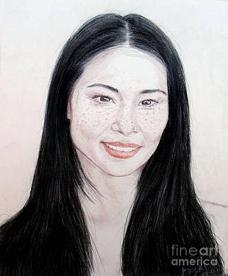 Drawing - Freckled Beauty Lucy Liu by Jim Fitzpatrick