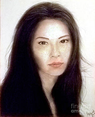 Drawing - Freckled Faced Beauty Lucy Liu  by Jim Fitzpatrick