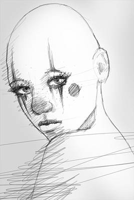 Bald Drawing - Freckles by H James Hoff