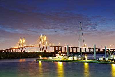 Photograph - Fred Hartman Bridge From Bayland Marina - Houston Texas by Silvio Ligutti