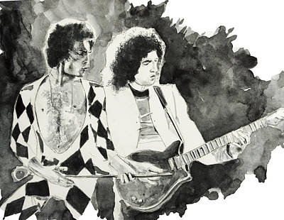 Brian May Painting - Freddie And Brian May by Bekim Art
