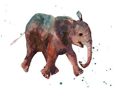 Baby Elephant Painting - Freddie Funtime Elephant by Alison Fennell