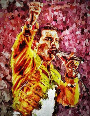 Concert Digital Art - Freddie Mercury Energy by Yury Malkov
